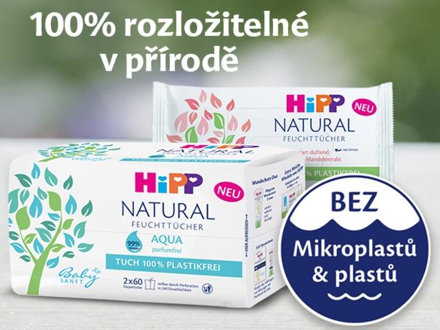 Vlhčené ubrousky HiPP Natural ocení každý dětský zadeček
